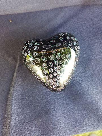 Cute black heart paperweight