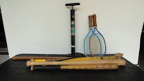 Vintage hockey stick, bats racquets etc. Lot #86
