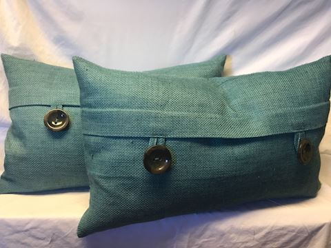 "Set 2 teal pillows 24"" wide"