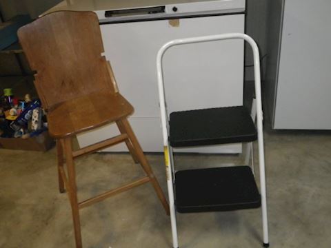 Child's Chair and Cosco Step Ladder