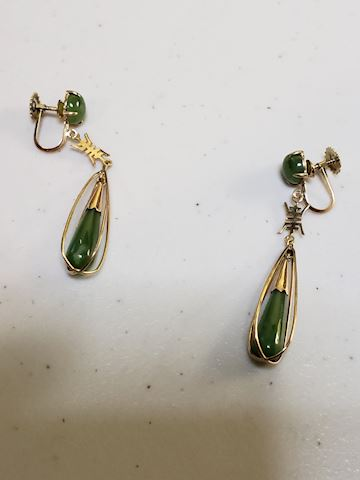Jade and 14k gold clip earrings