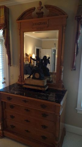 1908 World Expo King Bedroom Suite, Chest & Mirror
