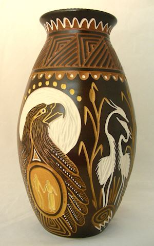 Iroquois Talking Earth Pottery Vase by Steve Smith