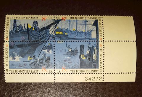 1973 Boston Tea Party Plate Block of 4- 8¢ Stamps