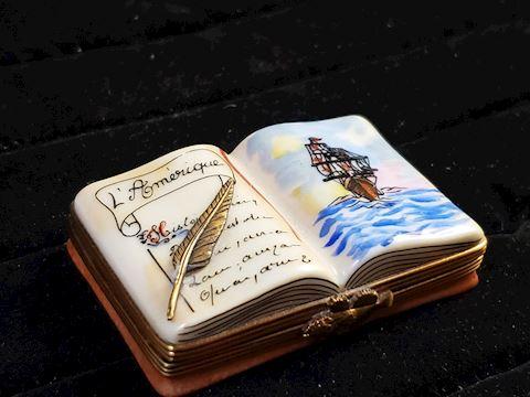 """""""Captians Log"""" Genuine Limoges trinketbox"""