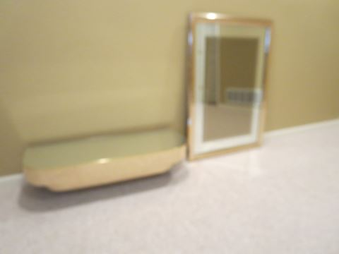 Contemporary Entry Mirrored Wall Shelf and Mirror