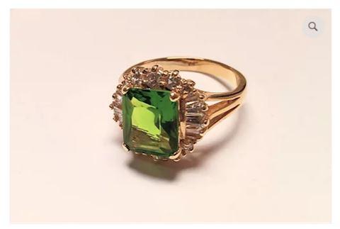 Green Gemstone Sterling Silver Ring