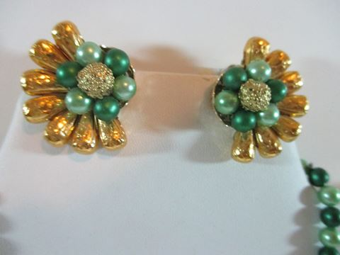 Gold and Green Beaded Rhinestone Set 1950's  Japan