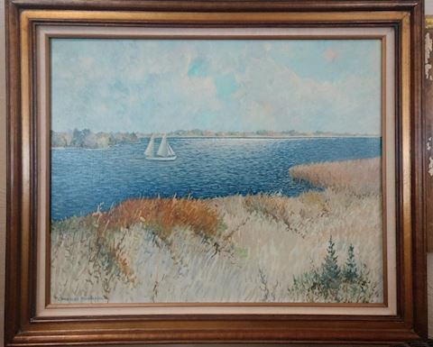 Framed Beach Sailboat Painting by Charles Richards