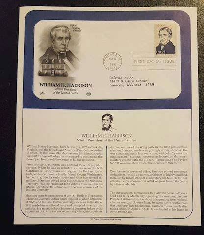 William Harrison 1986 First Day Cover