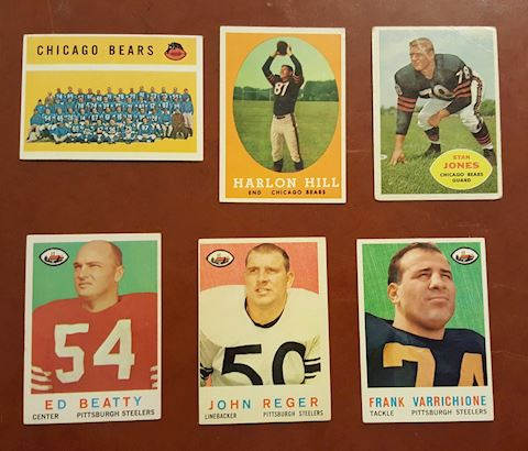 6  Old Chicago Bears & Steelers Football Cards