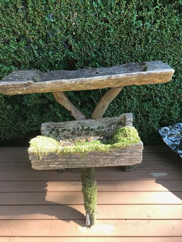 Rustic tree branch two-tiered plant trough