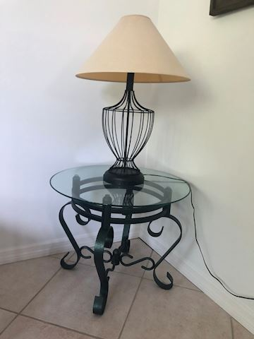 Iron and Glass Side Table and Lamp