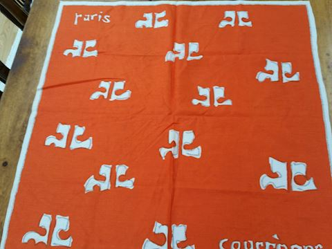 VINTAGE COURREGES SILK SCARF BRIGHT ORANGE W/LOGO