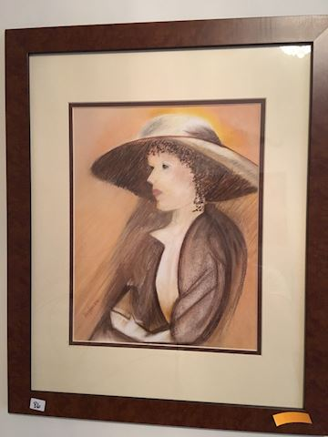 Pastel Drawing of Woman in Hat