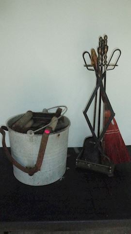fireplace tools mop bucket lot #107