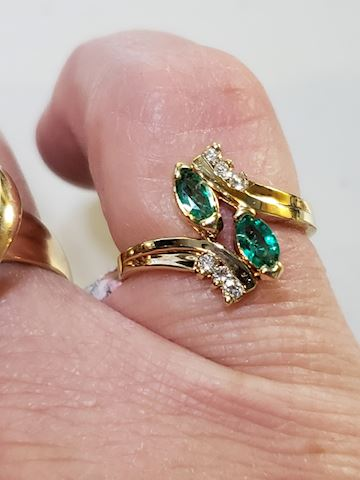 Genuine Emeralds and Diamonds, 14k size 5 3/4