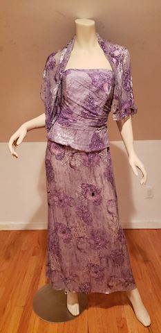 Jovani silk violet strapless beaded gown w/scarf