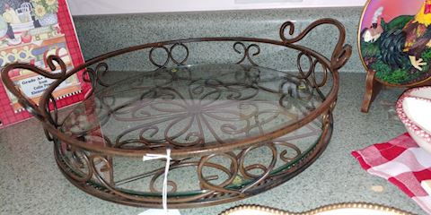 Beautiful glass & Metal serving tray with handle