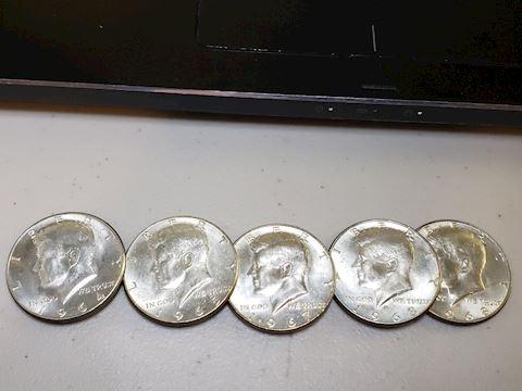 5 Silver JFK Half Dollars