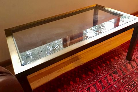 Brass and glass top coffee table