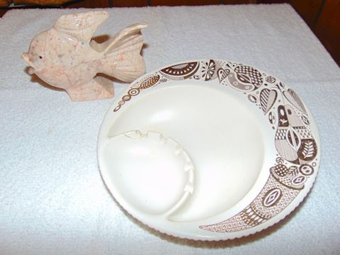 Vintage Hyalyn Ashtray and Alabaster Fish