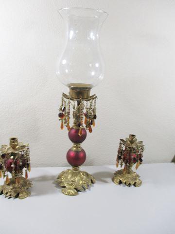 Vintage 3 Pcs Candle Rhinestone  Set