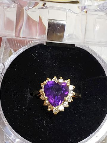 Heart Shaped Amethyst and diamonds 14k