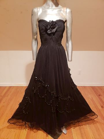 Circa 1920-30's Tulle Gown sequin millinery flower