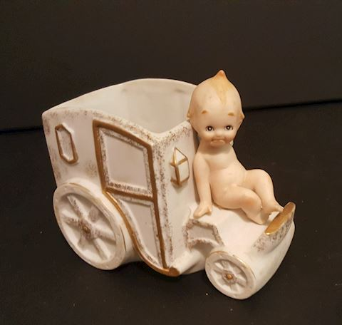 Lefton China Decorative Baby On Car Figurine