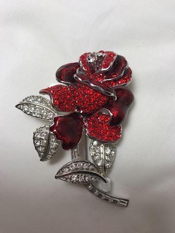First Lady- Red Rose Brooch- Nolan Miller