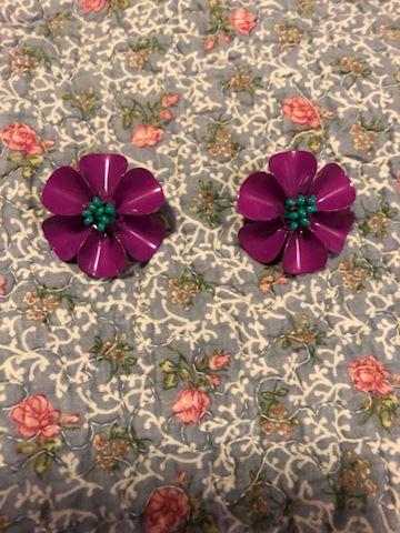 Vintage Purple and Blue Metal Flower Earrings