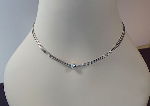 Sterling Silver Triple Chain Necklace w/ Bead