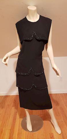 Vtg 1940's crepe layered embllished dress