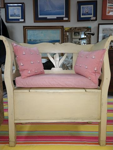 Small Painted Yellow Storage Bench with Cushions