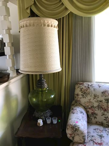 Vintage table lamp, 70's green glass globe, huge