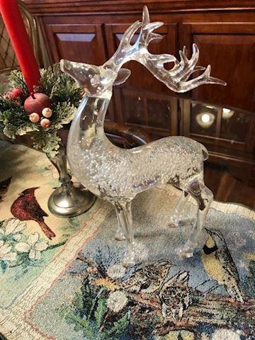Large Vintage Handblown Glass Reindeer