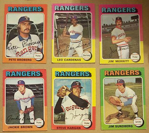 6 Vintage 1975 Texas Rangers Baseball Cards