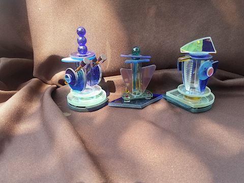 Lot of 4 signed Art Deco perfume bottles
