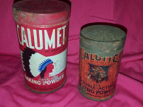 2 Vintage Calumet metal tins