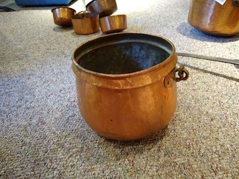Large Cauldron, Red Copper, Cast Iron Handle,