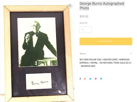 George Burns Autographed Photo