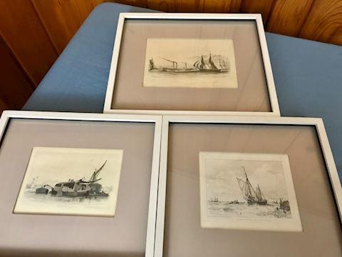 3 small framed ship prints