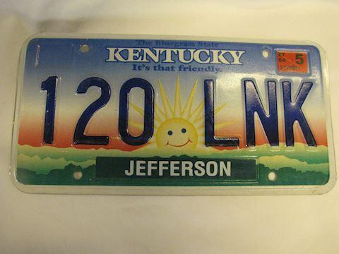2004 Sunshine Kentucky License Plate