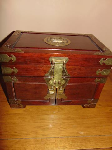 Rosewood Jewelry Box with Brass Accents