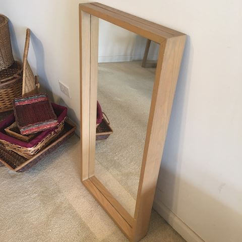 Vintage Rectangular Blond Wood Mirror