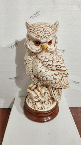Owl Vintage Statue Art Ceramic Glazed
