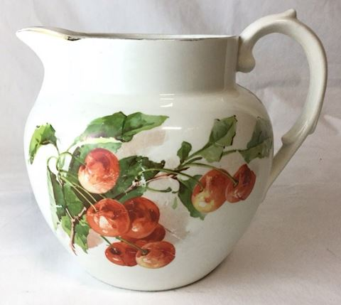 white red cherry Victorian Knowles Milk Jug 80Q320