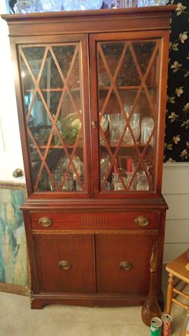 Antique China Cabinet Solid Wood