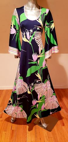 Jeannene Booher Maxi printed gown angel sleeves